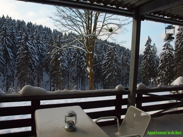 Winters balkonuitzicht